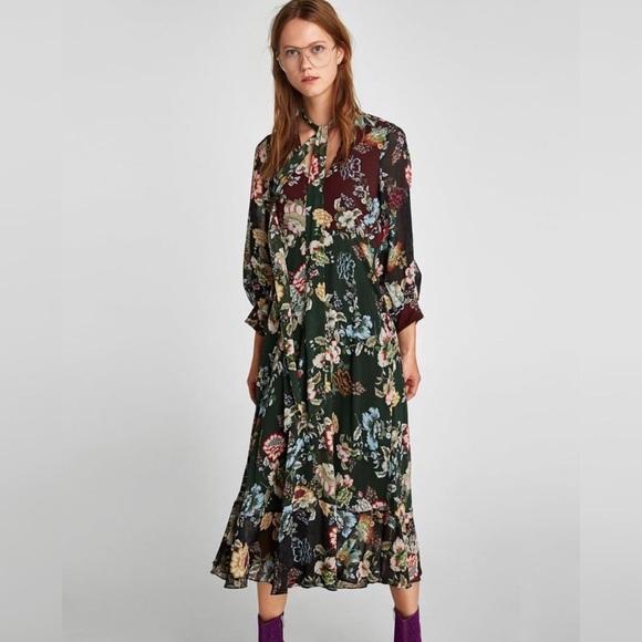 447b8b46 Zara Dresses   Floral Tie Neck Midi Dress   Poshmark